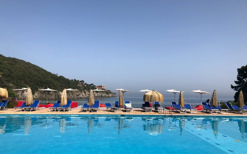 scenic swimming pool by the sea