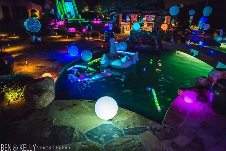 neon glow pool party