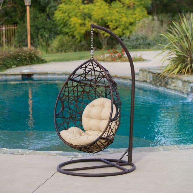 hanging chair by the pool