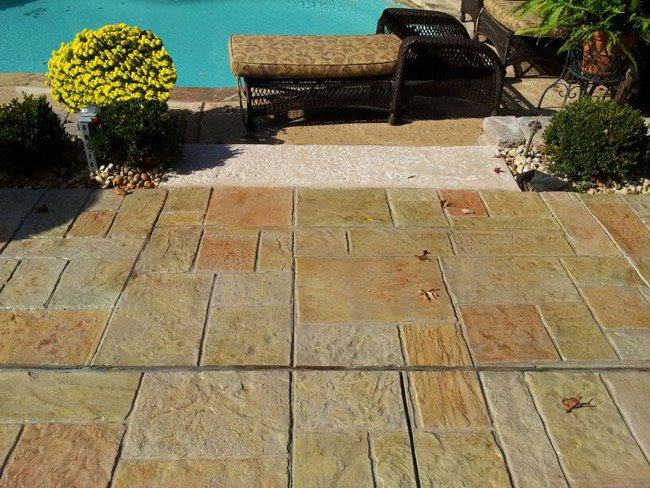 concrete stamped pool deck